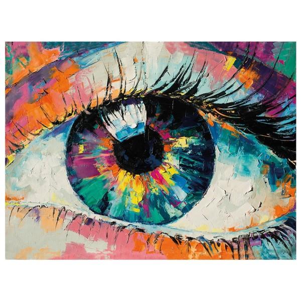 Diamond Painting, Auge multicolor, 35cm x 25cm, Motivleinwand, runde Steinchen, inkl. Werkzeug