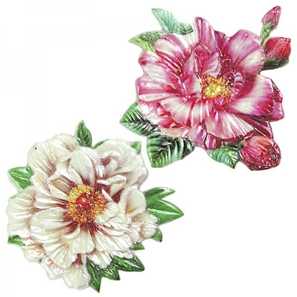 Wachsornamente Blumen, 2er Set