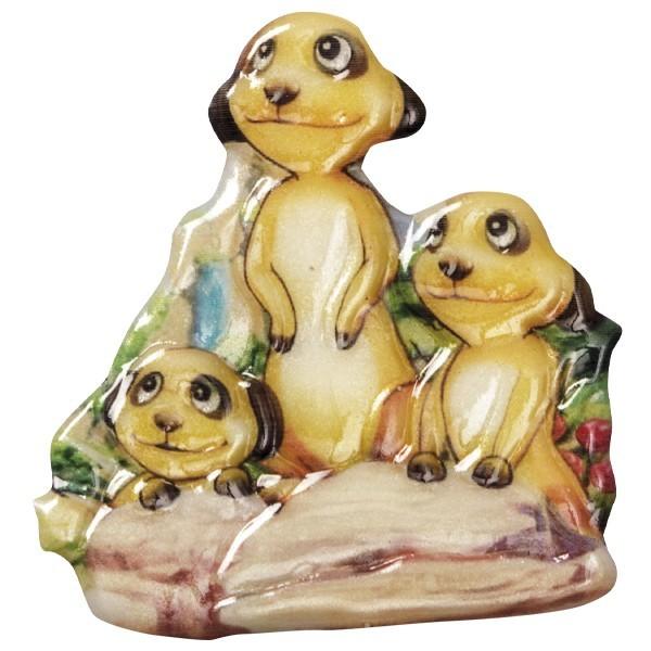 Wachsornament Erdmännchen 8, farbig, geprägt, 7-8cm