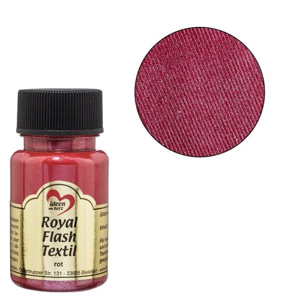 Royal Flash Textil, Glitzer-Metallic-Farbe, 50 ml, rot