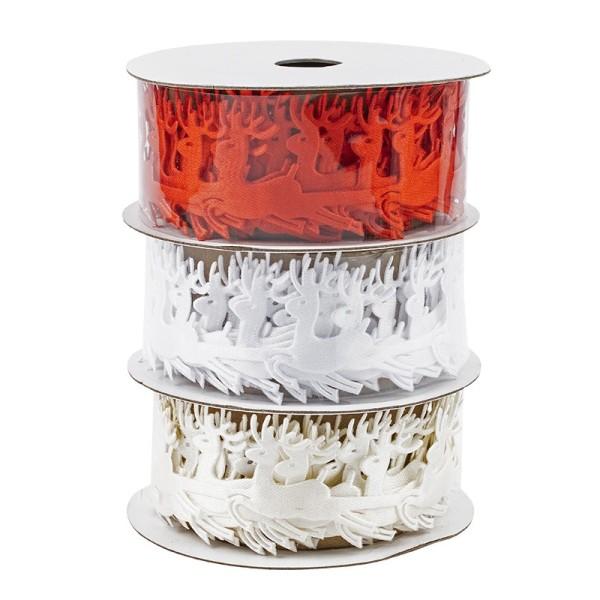 Deko-Bänder, Hirsch, 3cm breit, 3m lang, auf Rolle, weiß, creme, rot, 3 Stück