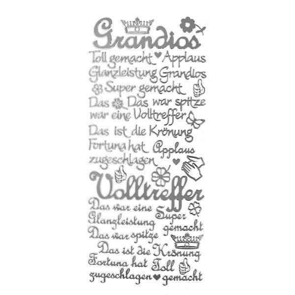 "Sticker, Schriften, ""Super/Applaus"", uvm., Spiegelfolie, silber"
