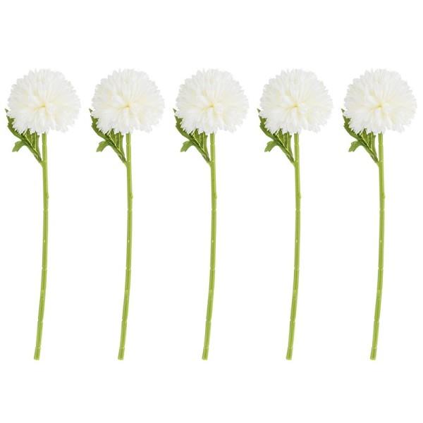 Deko-Blume, Dahlie, 28cm hoch, weiße Blüte, 5 Stück