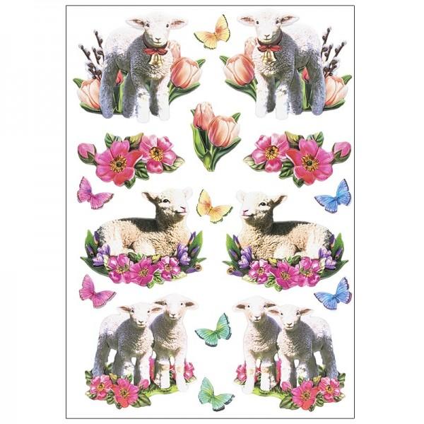 3-D Relief-Sticker, Osterlämmchen, verschiedene Größen, selbstklebend