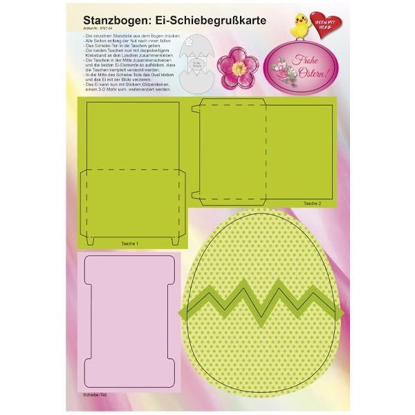 Stanzbogen, Ei-Schiebegrußkarte, DIN A4, Design 4