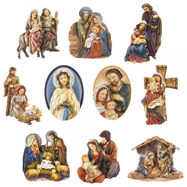 3-D Motive, Heilige Familie, Gold-Gravur, 6-10cm, 10 Motive