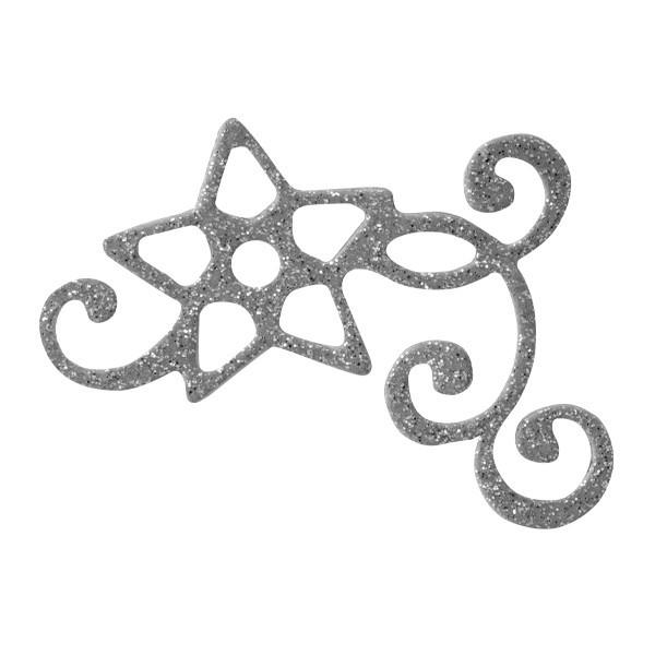 Glitzer-Ornamente, 25er Set, 4,5x5,5cm, Stern 3, silber