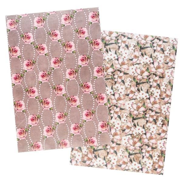 Reispapiere, Blüten 17, DIN A4, 30g/m², 2 verschiedene Designs