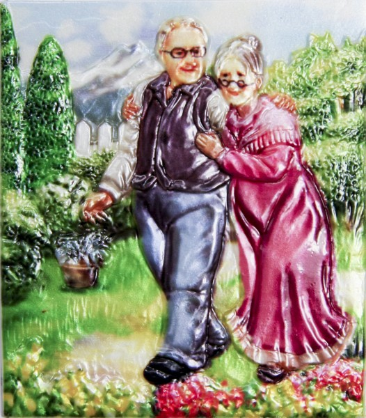 Wachsbild, Oma & Opa im Garten, 8 x 7 cm
