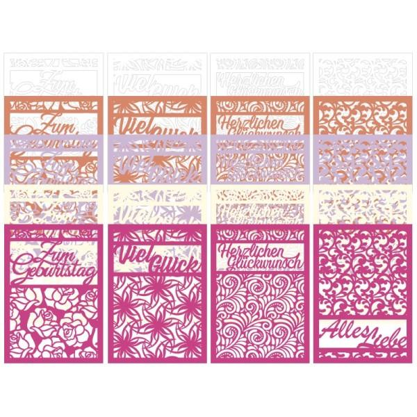 Laser-Kartenaufleger, Glückwünsche, 14,8cmx 10,5cm, 4 versch. Designs, 5 Farbtöne, 20 Stück
