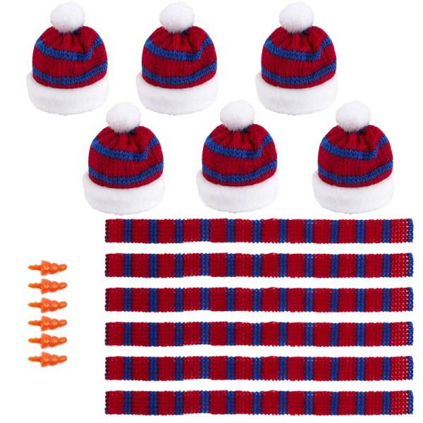 Winter-Outfit 4, Mützen, Schals & Nasen, 18-teilig, für Ø 6cm, rot/blau