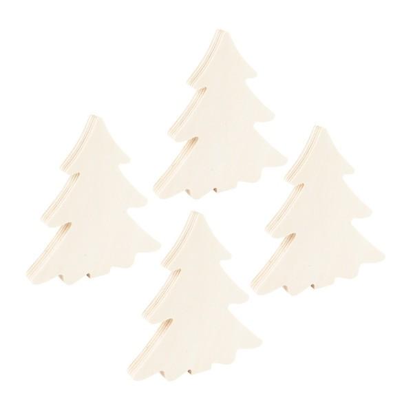 Tannenbäume, Holz, 11cm x 10cm x 1cm, zum Aufstellen, 4 Stück