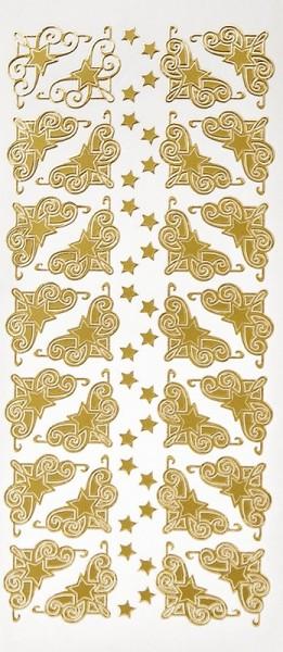 Sticker, Sterne & Ecken, Perlmuttfolie, gold