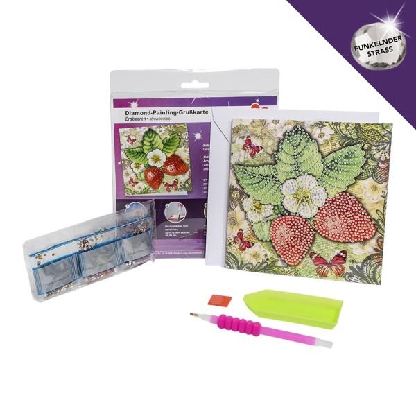 Diamond-Painting-Grußkarte, Strass, Erdbeeren, 16cm x 16cm, inkl. Umschlag & Werkzeug