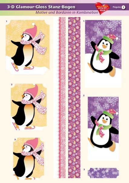 3-D GlamourGloss Bogen, Pinguine, DIN A4, Motiv 1