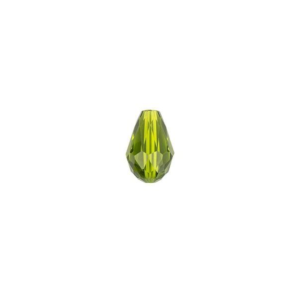 Perlen, Tropfen, facettiert, 0,6cm x 0,8cm, olivgrün, 30 Stück