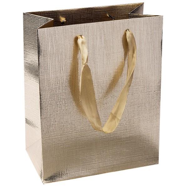 Geschenktaschen, 23cm x 18cm x 10cm, gold, 3 Stück