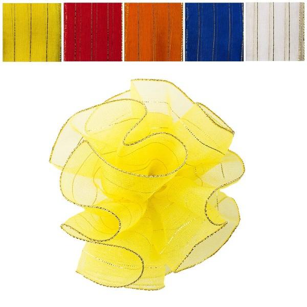 Zieh-Rüschenband, Organza mit Goldfäden, kräftige Farben, 1m x 3,8cm, 10 Stück