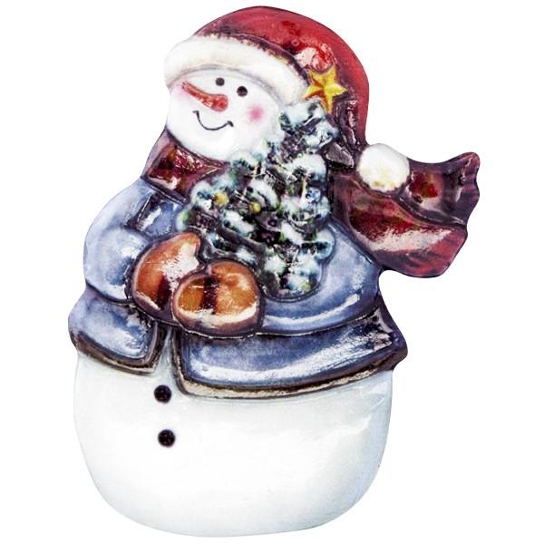 Wachsornament Fröhl. Schneemänner 3, farbig, geprägt, 6-7,5cm