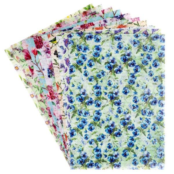 Motiv-Transparentpapiere Deluxe, Frühjahrsblumen, DIN A4, versch. Designs, geprägt, 10 Bogen