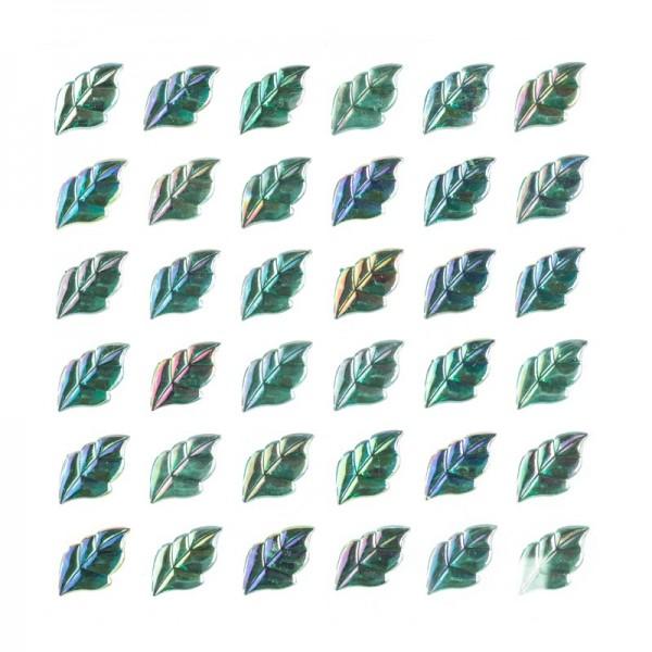 Glitzersteine, Blätter, selbstklebend, grün-irisierend, 17 mm, 36 Stück