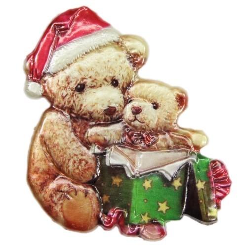 Wachsornament, Weihnachts-Teddys, farbig, geprägt, 7,5x7,5cm