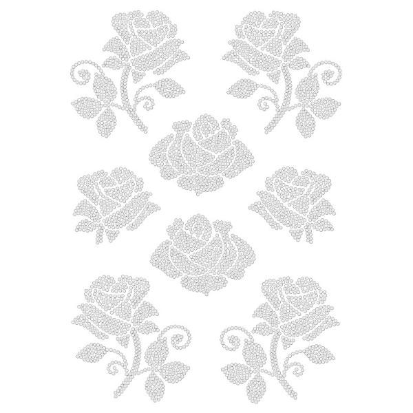 Bügelstrass-Design, DIN A4, klar, Rosen 2