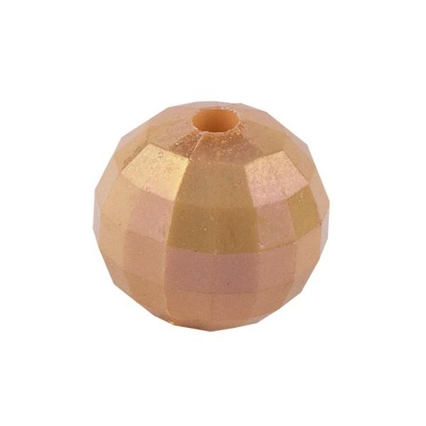 Perlen, facettiert, Ø 10mm, apricot-irisierend, 50 Stück