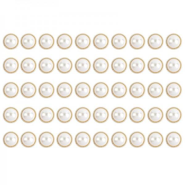 Premium Schmucksteine, Perlen-Zierstein 1, Ø 1,5cm, hellgold, perlmutt, 50 Stück