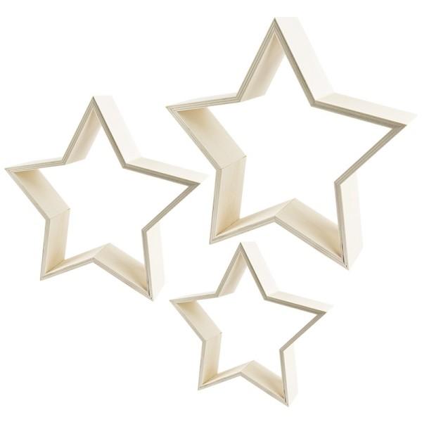 Sterne, Holzrahmen, drei verschiedene Größen, 3 Stück