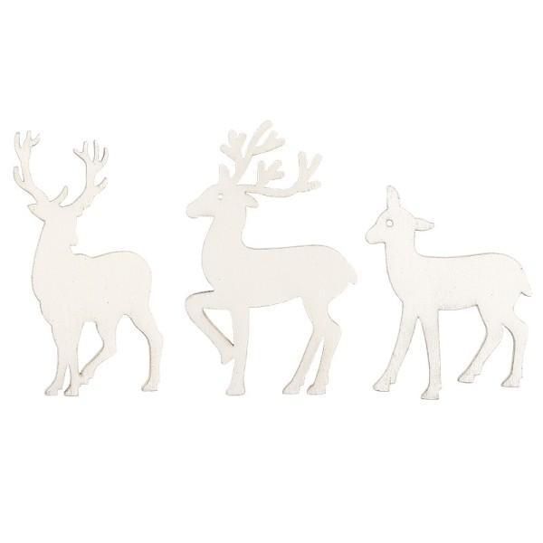 Rentiere, Holz, weiß, 3 verschiedene Designs und Größen, 24 Stück