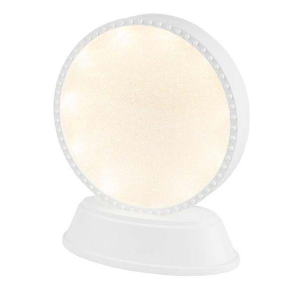 LED-Relaxleuchte, Rundform, Ø 11,7cm, Diamant-Lichteffekt-Folie, 10 LEDs, warmweiß, weiß