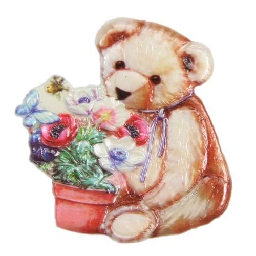 Wachsornament Teddy mit Blumenvase, farbig, geprägt, 7,5 x 7,5 cm