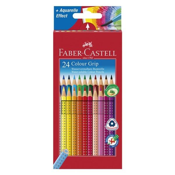 Wasservermalbare Buntstifte/Aquarell-Farbstifte, Colour Grip, Faber-Castell, 24 Stück