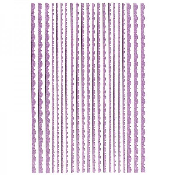 """3-D Sticker-Bordüren """"Deluxe Büttenrand"""", 3 verschiedene Breiten, selbstklebend, violett"""