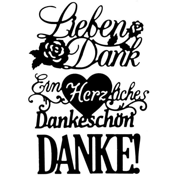 Stanzschablonen, Schriften, Danke 2, 3,5cm bis 9,5cm, 3 Stück