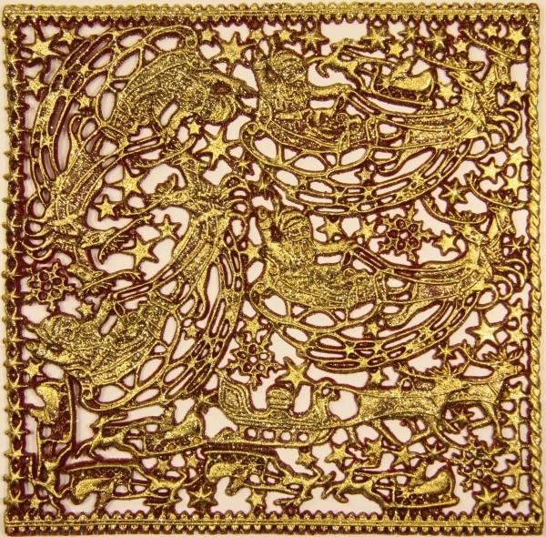 Wachsornament-Platte Rentierschlitten, 16 x 16 cm, bordeaux