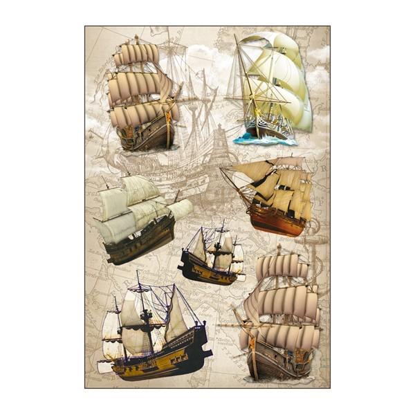 3-D Stickerbogen, Schiffe, 12,5 x 18,5 cm