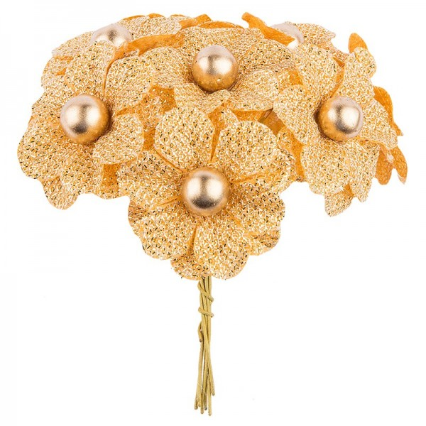 Deko-Blüten Bella, Ø 4cm, gold, 10 Stück