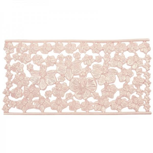 Wachsornament-Platte Orchideenblüten, 16 x 8 cm, rosa