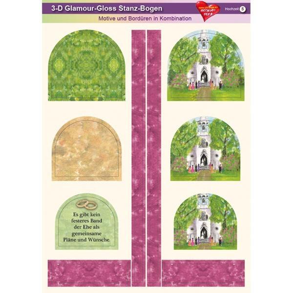 3-D GlamourGloss Bogen, Hochzeit, DIN A4, Motiv 5