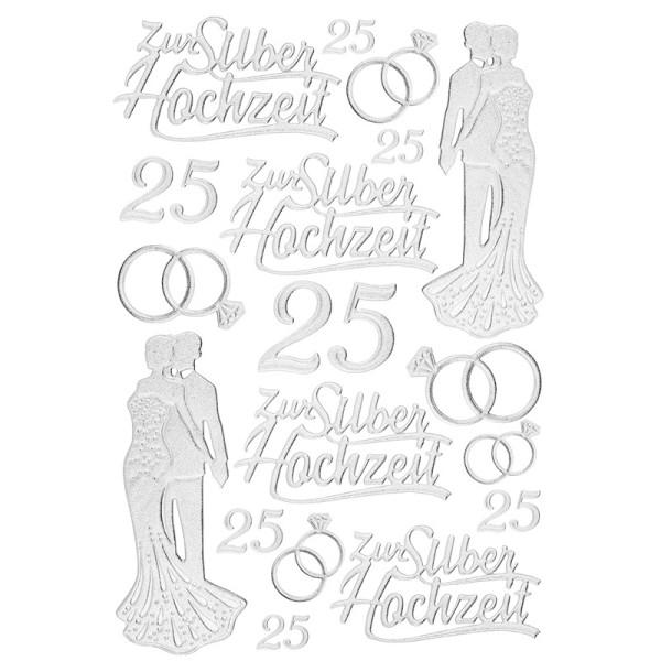 3-D Sticker, Deluxe Zur Silberhochzeit, selbstklebend, silber
