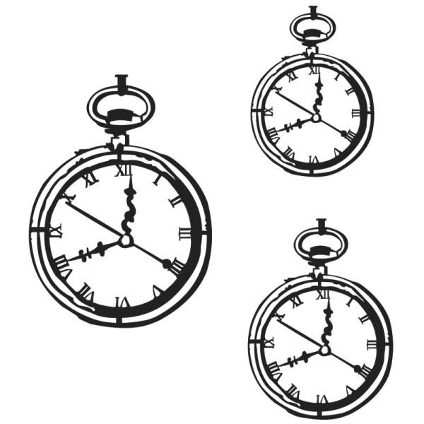 Silhouetten-Laser-Schablone, Uhr, 3 verschiedene Größen