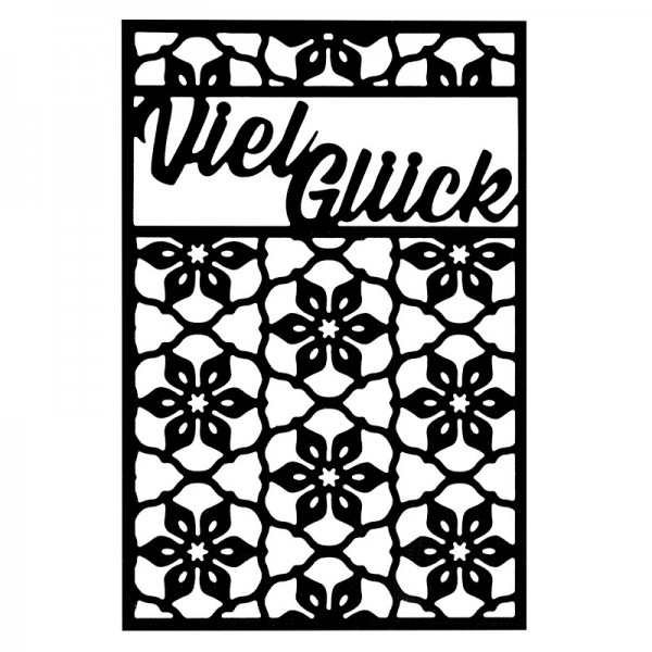Stanzschablone, Viel Glück, 9,4cm x 14,4cm