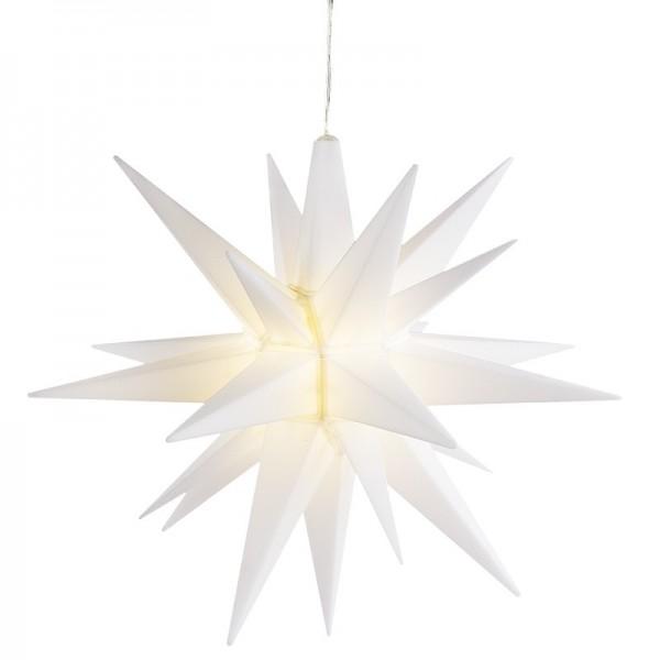 3-D LED-Stern, zum Zusammenstecken, Ø 30cm, Kabellänge 2m, 5 Lämpchen warmweiß, weiß, Timer