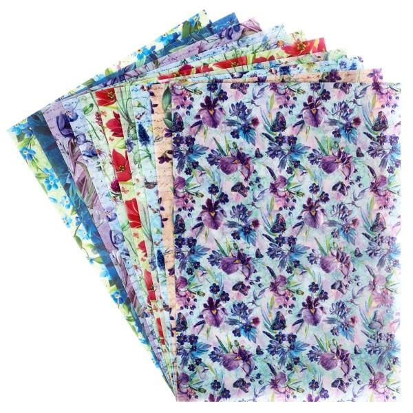 Motiv-Transparentpapiere Deluxe, Frühlingsblumen, DIN A4, versch. Designs, geprägt, 10 Bogen