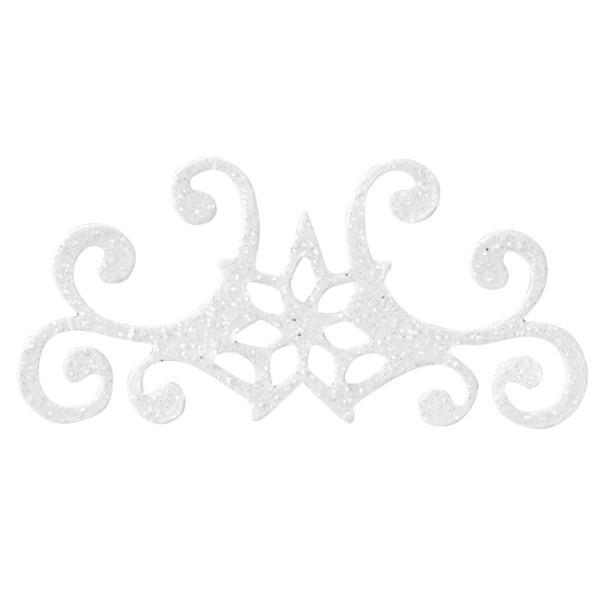 Glitzer-Ornamente, 25er Set, 3x7cm, Stern 4, weiß-irisierend