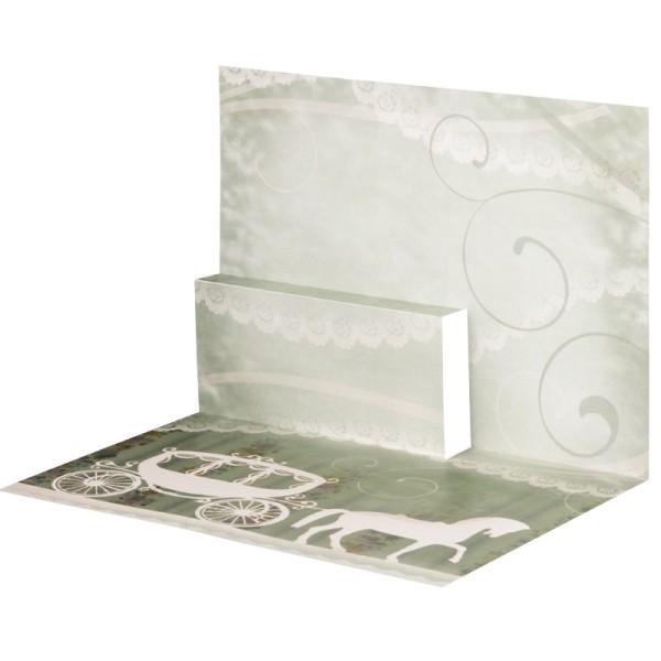 Pop-Up-Grußkarten-Einleger, gefaltet 11 x 15,5 cm, Hochzeitskutsche