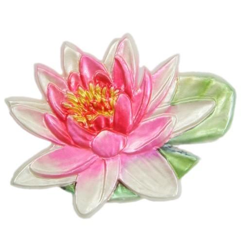 Wachsornament, Seerose, farbig, geprägt, 8,5x6,5cm, Design 10