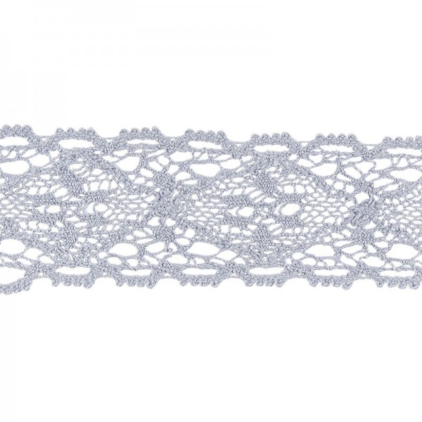Häkelspitze Design 9, 3,7cm breit, 2m lang, blaugrau